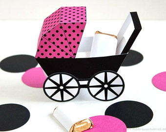 Modern Baby Carriage Favor Box - Hot Pink & Black : DIY Printable Baby Buggy Gift Box | Pram | Girl | Baby Shower Favor - Instant Download