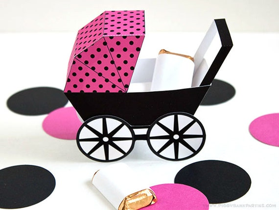 Modern Boxing Modern Baby Carriage Favor Box