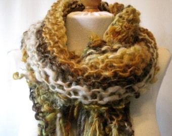 Yellow Art Yarn Scarf Handspun Wool Mohair Fringe