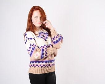 Pastel Aztec Sweater - Vintage Navajo Sweater - Pendelton Sweater - The Campfire Sweater - 5083