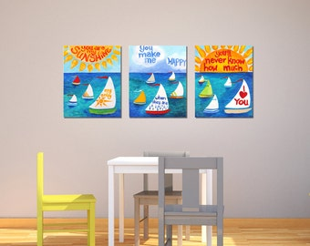 Nursery Art, YOU Are My SUNSHINE, Sailboats No. 3, 11x14 Set of 3 Childrens Paintings, Nursery Decorating Ideas for Big Walls