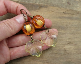 Orange Pumpkin Dangle Earrings with yellow leaves, seasonal statement jewelry for Halloween, Thanksgiving, autumn, fall