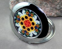 Sunflower Compact Mirror Pocket Mirror Boho Chic Mandala New Age Sacred Geometry New Age Hippie Kaleidoscope Perpetual Hope