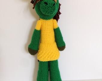 Pablo Picasso Pony, crochet pony doll, crocheted artist doll
