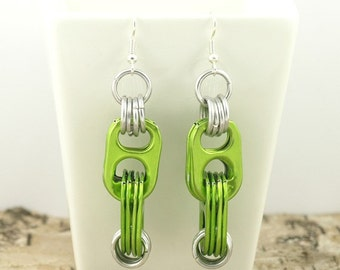 lime green pop tabs earrings - pair - crosslink and aluminium chainmaille