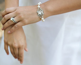 ivory swarovski pearl and crystal Bracelet Statement Bridal Bracelet Bridal Cuff Wedding Rhinestone Bracelet swarovski crystal MORGAN