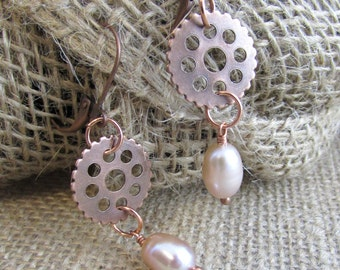 Freshwater Pearl and Copper Industrial Tough Girl Earrings