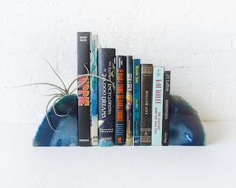 10% SALE Air Plant Pluto Blue Planetary Storm Book Ends - Crystal Bookends Air Plant Garden -Agate Geodes - Pair - Unique Home Decor Planter
