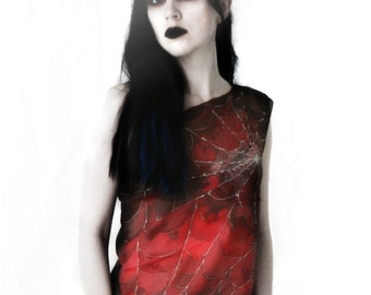 Gothic clothing - red tank top blouse - cobweb silk