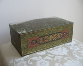 Antique Art Deco Metal Box Tin Humidor by Wilson & Co. USA Soap Dept. With Mosaic Stained Glass Design, Cigar Tobacciana RARE