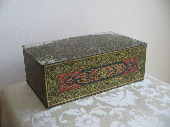 antique art deco metal box tin humidor by wilson co usa. Black Bedroom Furniture Sets. Home Design Ideas
