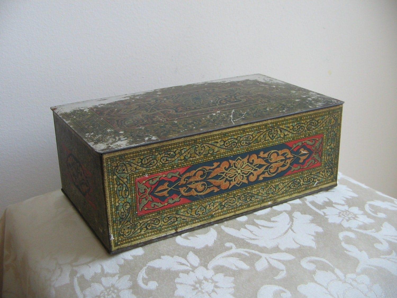 Antique art deco metal box tin humidor by wilson co usa - Deco tuin ...