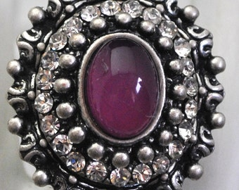 Ornate Silver Ring/Magenta/Statement Ring/Rhinestone/Vintage Style/Gift For Her/Adjustable/Under 20 USD