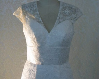 Vintage Inspired Wedding Dress with Cap Sleeves Illusion back