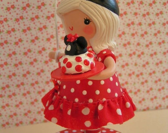 Minnie Mouse Traditional Cake Topper Decoration Little Girl Birthday Party Red Mouse Ears Vintage Style Boho Shabby Handmade Pink One Kids