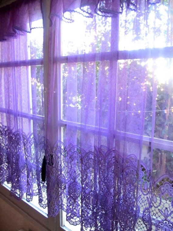 Purple Lace Curtains French Lace Panels Purple by ...
