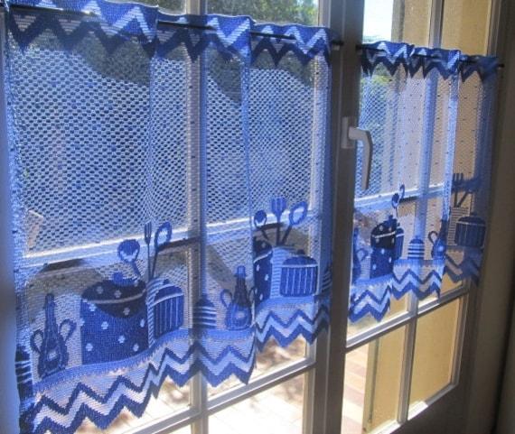 Kitchen Cafe Curtains Pair Blue Lace Curtains Cottage