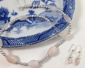 Pink Stone & Gray Freshwater Pearl Necklace Set