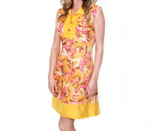 Barbarella, French Vintage, 1960s Yellow Floral Mini Dress, from Paris