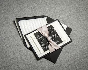 "Black and White Invitation Suite, Black Tie Wedding Invitations, Modern New Years Wedding Invitation - ""Modern Swirl & Flourish"" FP-1L-v3"