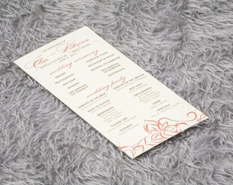 Tropical Wedding Programs, Lotus Flower Wedding Programs, Formal Ceremony Programs, Elegant Lotus and Swirl Flat Panel Program-- DEPOSIT