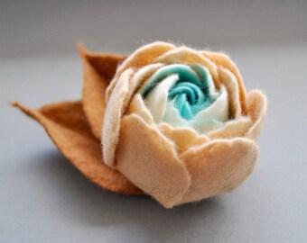Felt Flower Brooch Light Caramel Cream and Teal / Spring Ranunculus Felt Flower Pin Brooch