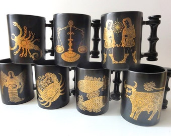 Vintage Zodiac Horoscope Mug Portmeirion Pottery Pisces Virgo Taurus