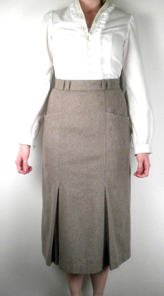 vintage taupe pencil skirt a line skirt by