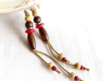 Long Earrings, Natural Eco Jewelry, Red Wood Earrings,Tribal Hippie Earrings, Boho Earrings, Down To Earth Jewelry, Beach Jewelry