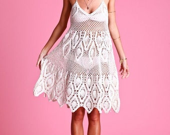 Halter Dress / Crochet Lace / Cotton Cover Up  Made to Order in any size and color