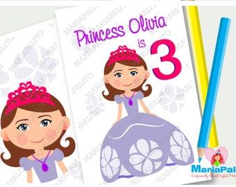 6 Princess Sofia Coloring Books, Princess Sofia Inspired Birthday Party, Personalized Coloring Books Party Favors  A1080