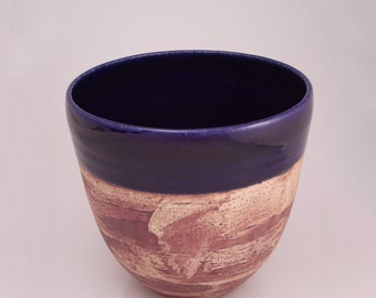 Ceramic bowl - cobalt blue and brown, handthrown, medium-size