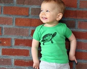 Turtle TShirt - American Apparel Grass Green Cotton Tshirt