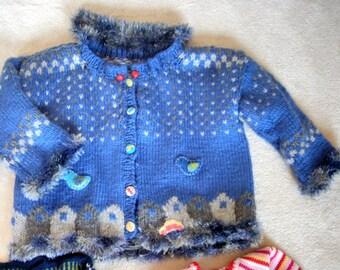 "Handknit Children Cardigan ""Nightsky "" for 7-8 year boy or girl"
