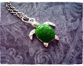 Green Turtle Necklace - Green Resin Turtle Charm on a Delicate Silver Plated Cable Chain or Charm Only