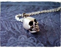 Silver Skull Necklace - Sterling Silver Skull Charm on a Delicate Sterling Silver Cable Chain or Charm Only