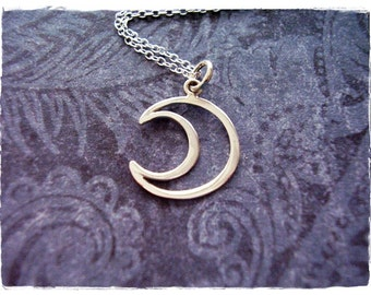 Silver Wire Crescent Moon Necklace - Sterling Silver Wire Crescent Moon Charm on a Delicate Sterling Silver Cable Chain or Charm Only