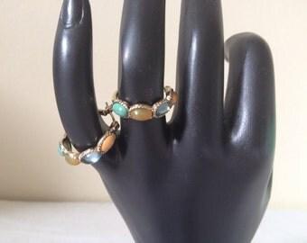 Vintage Hoop Earrings Goldtone With Faux Gemstones 1980s Era MONET