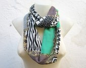 infinity Chiffon Scarf,Chunky Scarf,Cowl Scarf,Loop Scarf,Tube Scarf,Gift for her