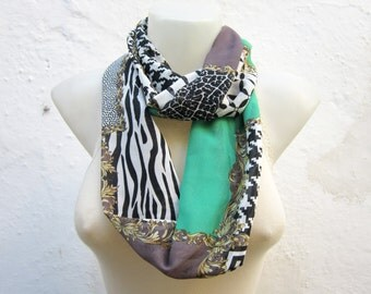 infinity Chiffon Scarf, Geometric Patterns, Neck Wrap, Cowl Scarves, Loop Accessories, Floral Circle Necklace, Eternity collar, Black Green
