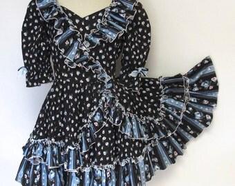 Country Western Black Floral Puff Sleeve 80s 90s Vintage Dress |  Medium 10 Kawaii Square Dancing