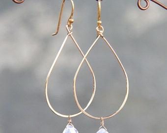 Teardrop Gold Hoop Earrings with Rainbow Moonstone Drop