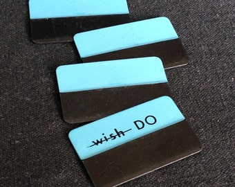 Time to get organized. Vintage long blue metal customizable file tabs.