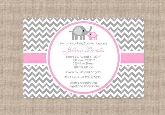 chevron pink and gray elephant baby shower by honeyprint on etsy