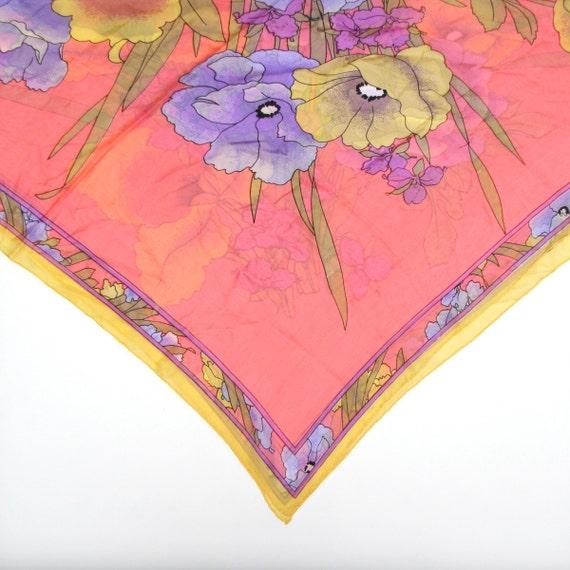Vintage 60s 70s Mod Pastel Floral Print Silk Oversized Square Scarf