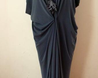Gray V neck  jersey loose drape dress