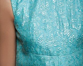"vintage 60s maxi dress iridescent blue A-line empire sleeveless S (34"" bust)"