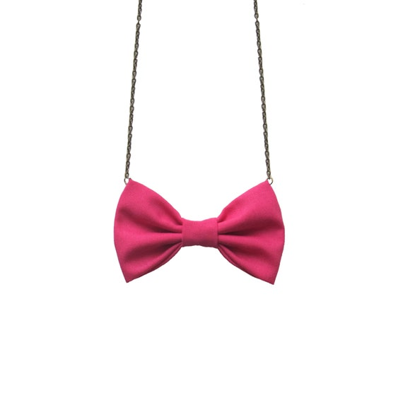 Hot Pink Bow Tie Necklace - For Casual Wear , Party, Prom, Bridesmaids Women Bowtie