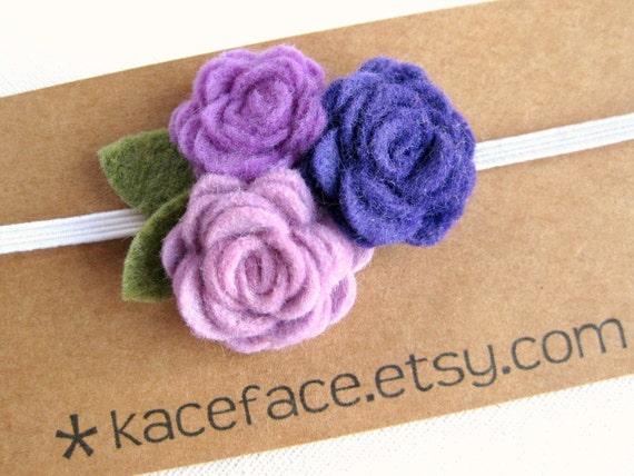 Rose Bouquet Headband - Purple - Newborn Baby Toddler Child
