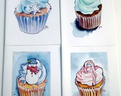 Christmas Cards, Christmas Cupcake Art Cards, Set of 12